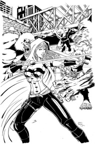 Cover art for Scarlet Huntress #2 (2016 reprint), Lineart by Sean Forney