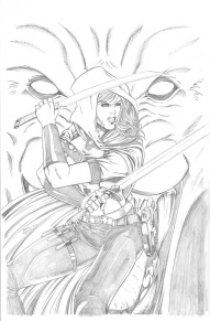 Cover art for Scarlet Huntress #1 (2016 reprint), Lineart by Sean Forney