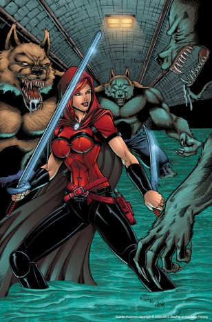 Scarlet Huntress Print, Lineart and Colors by Sean Forney, Inks by Rodney Fyke