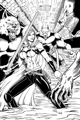 Scarlet Huntress Print (inks), Pencils by Sean Forney, Inks by Rodney Fyke