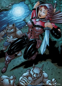 Scarlet Huntress Image, Lineart by Scott DM Simons, Colors by Sean Forney