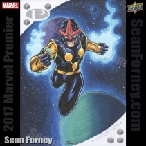 Upper Deck Marvel Premier 2017 - 5x7 Original Sketch Card by Sean Forney